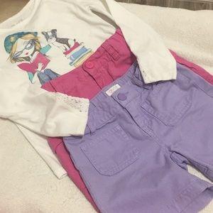Girls long shirt, purple shorts and pink shirt
